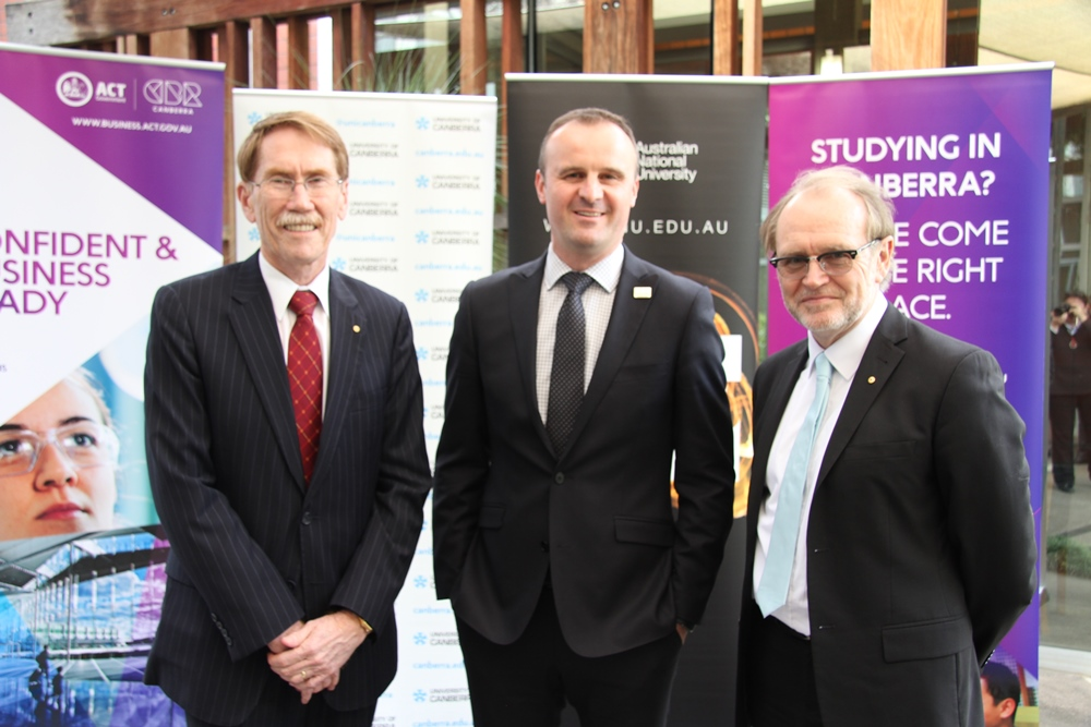 Professor Ian Young, Chief Minister Andrew Barr MLA, Professor Stephen Parker