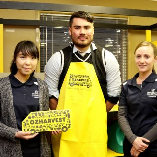 Master of Nutrition and Dietetics students Monique Cheang, Shaun McCall and Jessie Ebsworth have developed supermarket tour module for OzHarvest's NEST program
