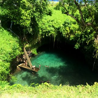 Nutrition students from the University of Canberra enjoying a dip at to-sua ocean trench Samoa