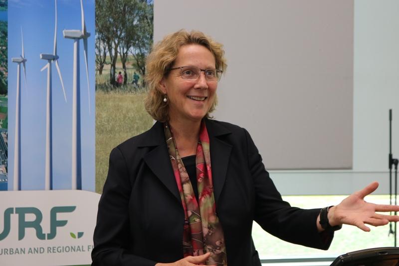 Professor Barbara Norman delivers a presentation on urban planning for CURF