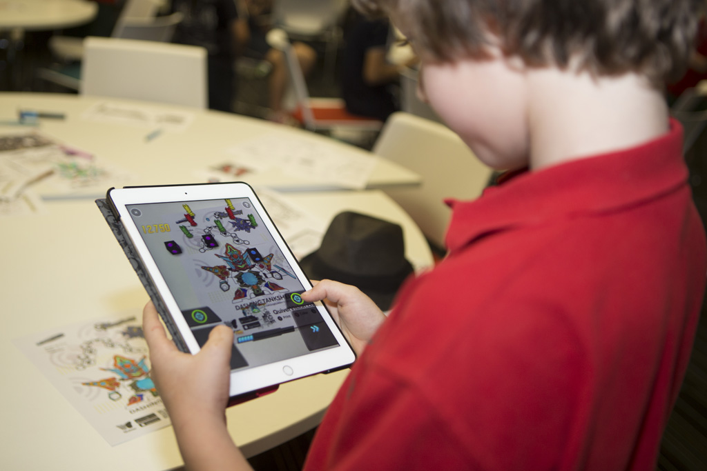 A student using a specialist learning app on an iPad