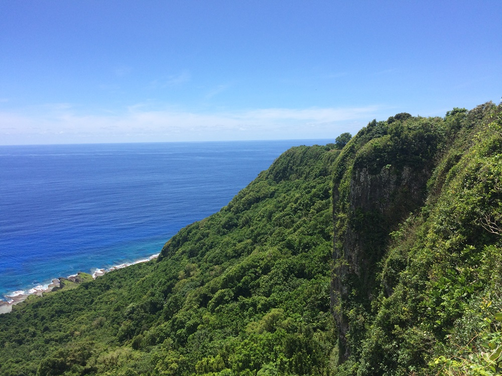 Tropical forests and a cliff on the island of Guam