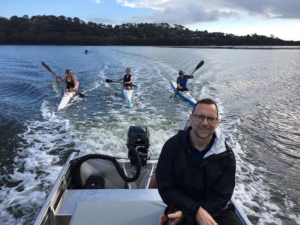 Kevin Thompson at a sprint canoe team training