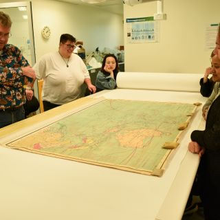 One of the Asia Pacific maps in the laboratory being discussed with students