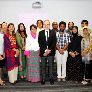 Group photo of Australia awards' recipients with Vice-Chancellor Stephen Parker