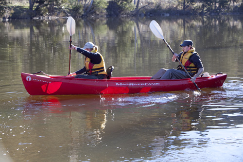A two person canoe out on the Murrumbidgee River