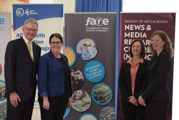 FARE CEO Michael Thorn with senior policy officer Sarah Ward and University of Canberra researchers Professor Kerry McCallum and Dr Kate Holland