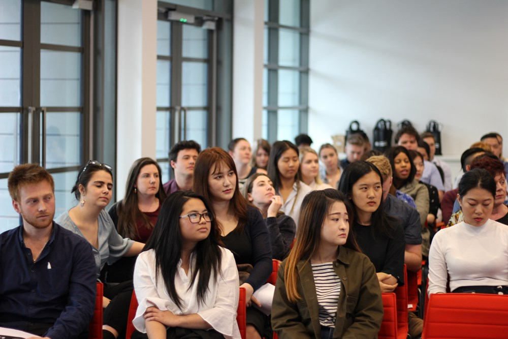 A group of final year advertising students watch on during the UC 2017 Advertising Awards