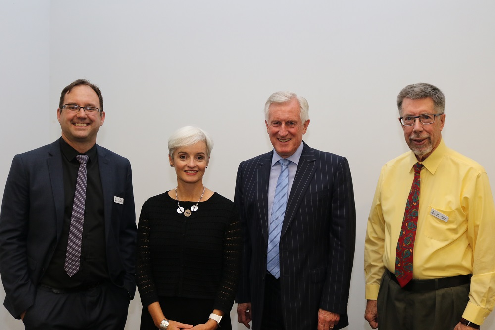 Professor Ross Thompson, Professor Emma Johnston, Dr John Hewson and University of Canberra thinker in residence, Professor Charles Krebs attend the 2018 Krebs Lecture.