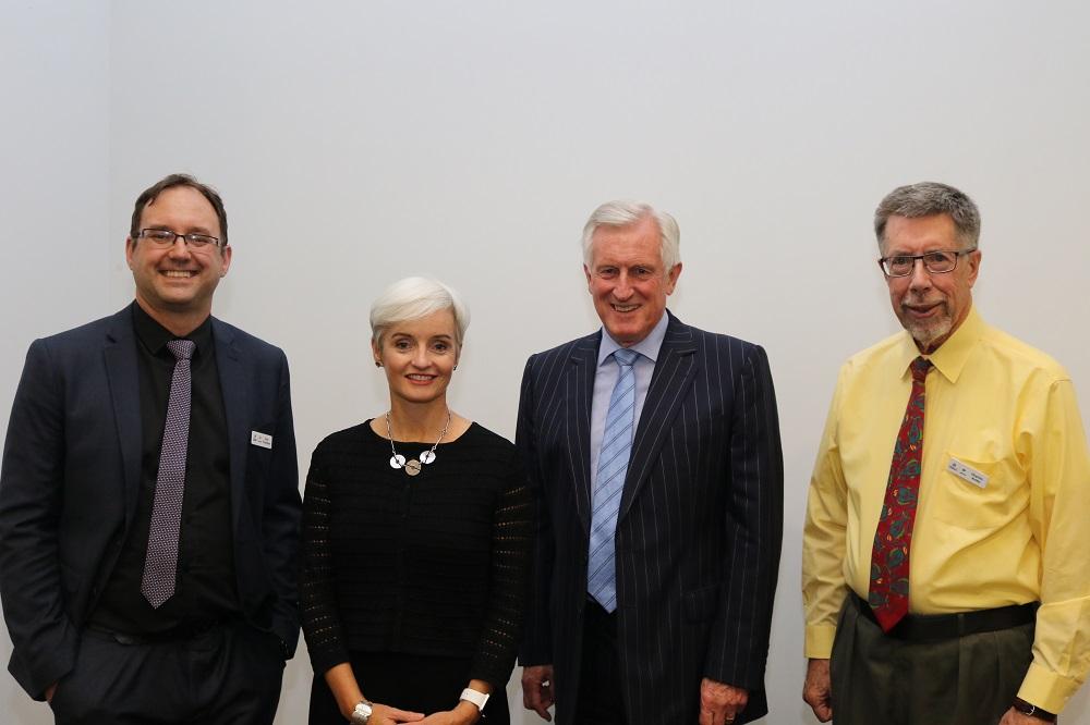 Professor Ross Thompson, Professor Emma Johnston, Dr John Hewson and University of Canberra thinker in residence, Professor Charles Krebs attend the 2018 Krebs Lecture.