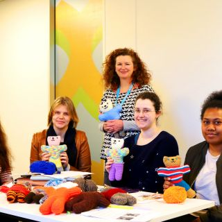 The University of Canberra's student-led knitting project is crafting Trauma Teddies for the Red Cross