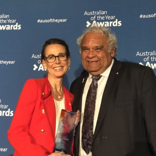ACT Australian of the Year Virginia Haussegger AM with University of Canberra Chancellor Tom Calma