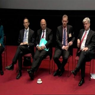 Panelists Michelle Grattan, Andrew Leigh, Senator Arthur Sinodinos, Ben Phillips and Saul Eslake in the theatre at Australian Parliament House