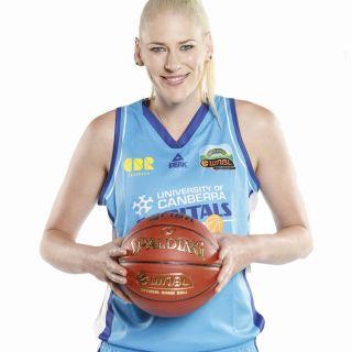 University of Canberra Capitals star forward/centre Lauren Jackson AO holding a basketball