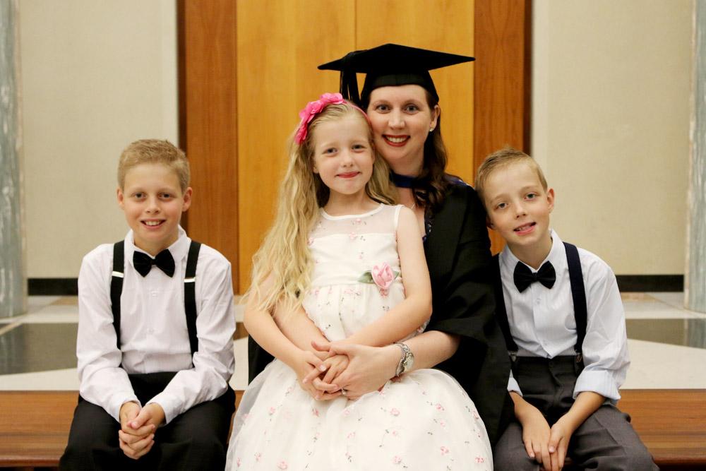UC graduate Tanya Stiller with her three children