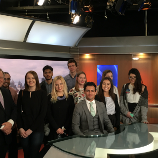 UC Press Club students with Peter Hitchener at Channel 9.