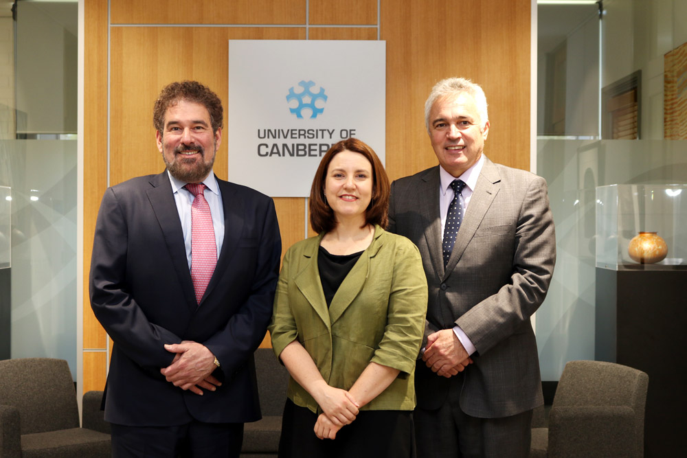 L-R: Pegasystems Founder and CEO Alan Trefler, Deputy Director General of IP Australia Deborah Anton and UC Dean of Faculty of ESTEM, Professor Geoff Riordan