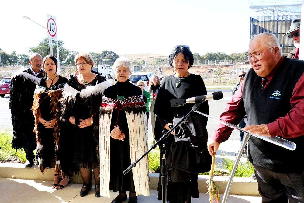 A Maori delegation take part in the cultural blessing