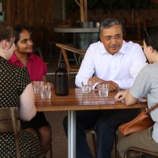 Professor Deep Saini with UC staff and students; the University of Canberra's Vice-Chancellor is determined to do what he can to drive gender equity.