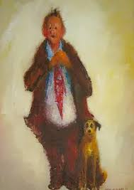 Man with dog and hamburger