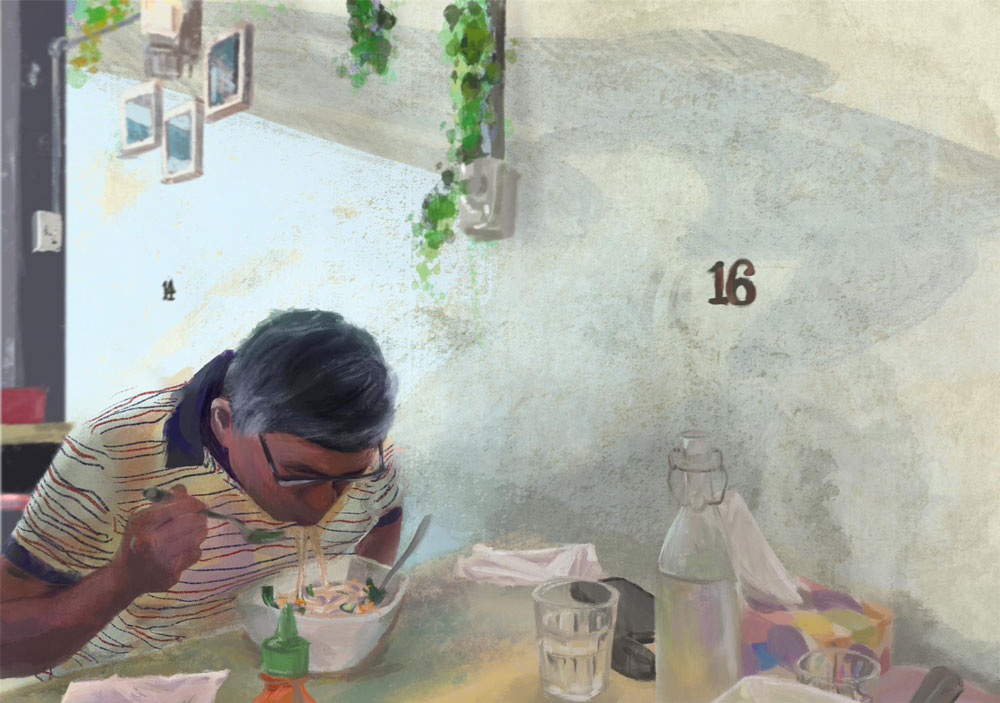 A painting of a man eating noodles – a Creative Competition 2020 winning piece