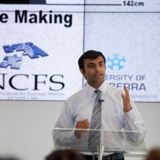 Past winner Bhavik Mehta delivers his winning pitch during the 2013 Research Festival's Pitch for Funds