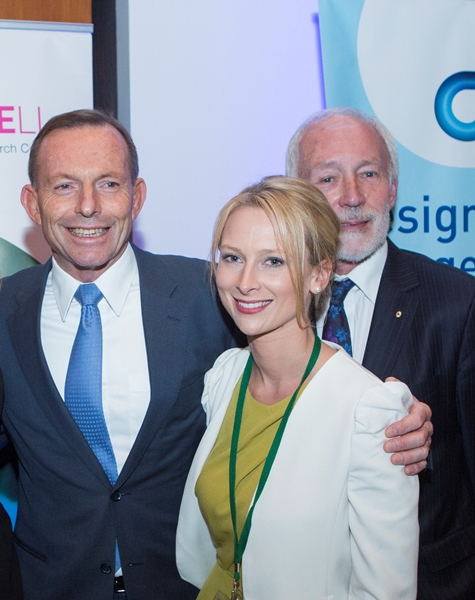 Prime Minister Tony Abbott with early career researcher of the year Sally Bradford and mental health campaigner and former Australian of the Year Professor Patrick McGorry