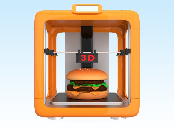 A graphic of a three-dimensional printer producing a hamburger