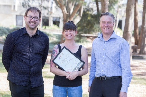 Ross Thompson, Cat Campbell and Andreas Glanznig at the University of Canberra