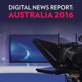 Title page of the Digital News Report: Australia 2016 features a television studio camera and set