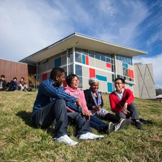 A group of students sit talking on a grassy hillside at the University's Bruce campus