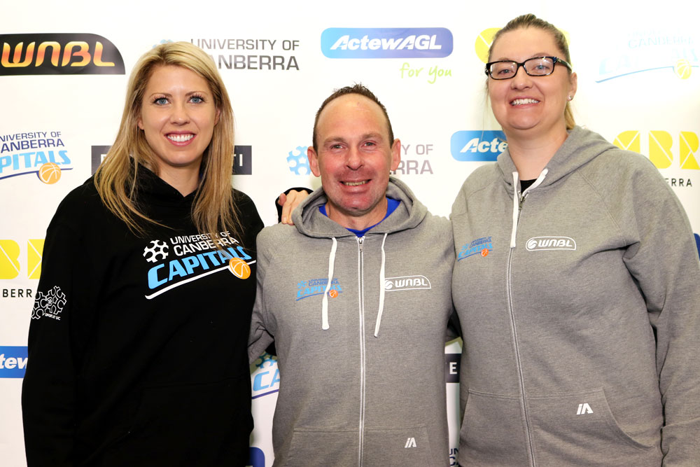 University of Canberra Capitals assistant coaches Carly Wilson and Peta Sinclair with head coach Paul Goriss.