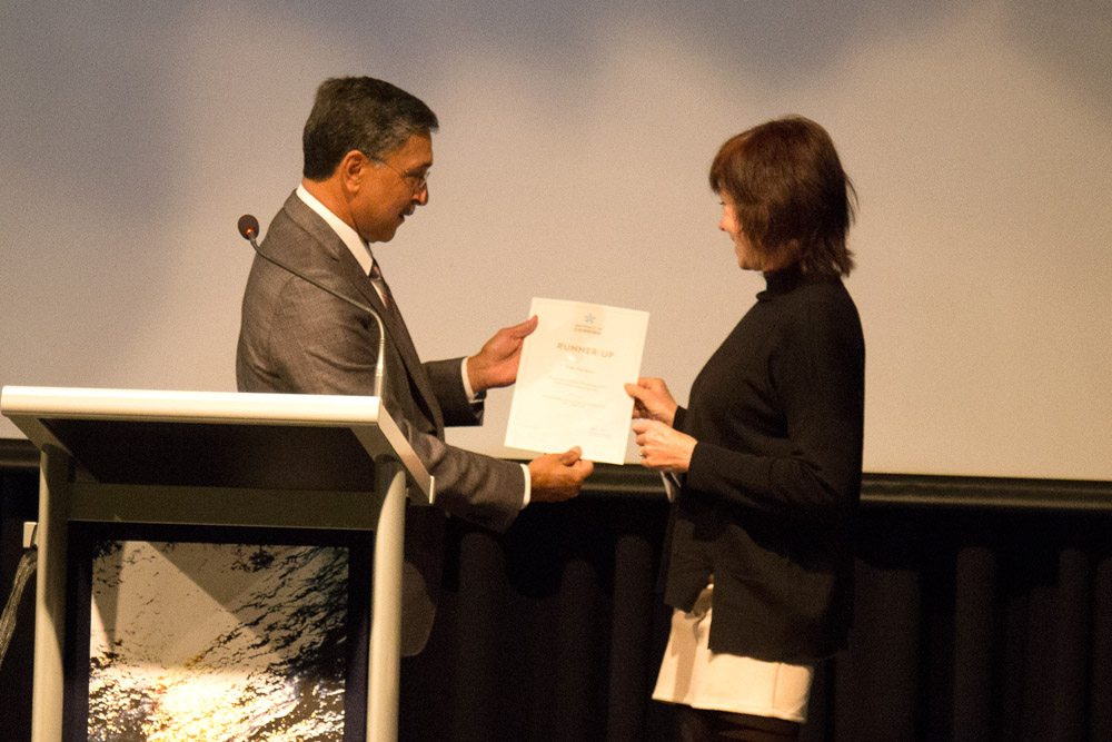 Vice-Chancellor and President Professor Deep Saini with Debi Hamilton, who was named runner-up for the Vice-Chancellor's International Poetry Prize. Photo supplied.
