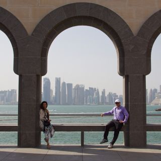 photo of The students enjoying a view of the Qatar skyline. Photo: Scott Bridges