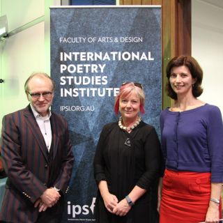 Vice-Chancellor Stephen Parker and Centre for Creative and Cultural Research director Jen Webb with runner-up UC Vice-Chancellor's International Poetry Prize winner Lisa Brockwell
