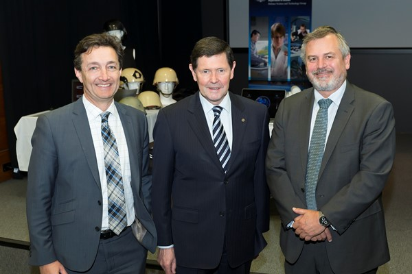 Dr Braden McGrath at the announcement of the Defence CTD program funding with Federal Defence Minister Kevin Andrews