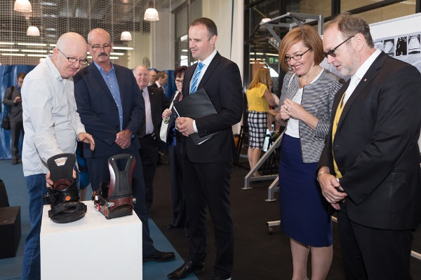 UC Researchers show the Chief Minister Andrew Barr MLA, Meegan Fitzharris MLA and Vice-Chancellor Professor Stephen Parker some of the sports technology developed at the University