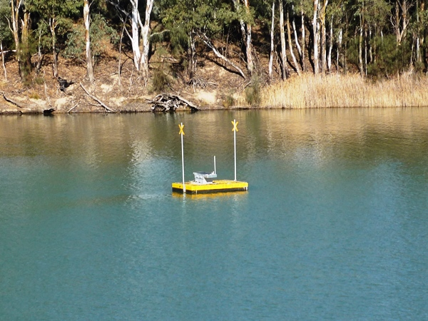 A floating bouy carries equipment and a solar panel to monitor water salinity