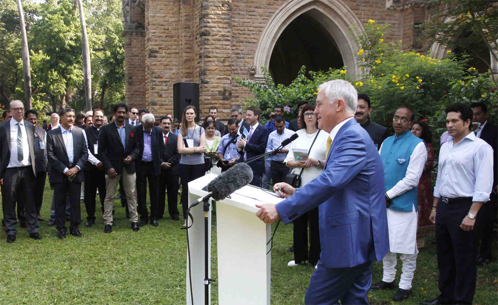 R-L: Cricketer Sachin Tendulkar, Prime Minister Malcolm Turnbull,, Kate Palmer of Australia Sports Commission, and Professor Deep Saini and Peter Dawkins.