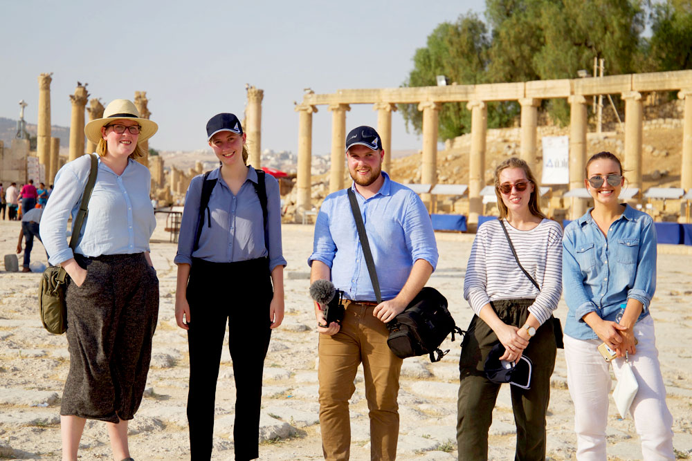 The 2017 AMEJE delegates at the Roman ruins in Jerash, Jordan.