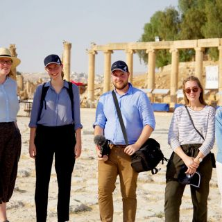 The 2017 AMEJE delegates at the Roman ruins in Jerash, Jordan.
