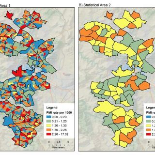 Two disease maps of the ACT at low scale showing high variation in disease rates across Canberra