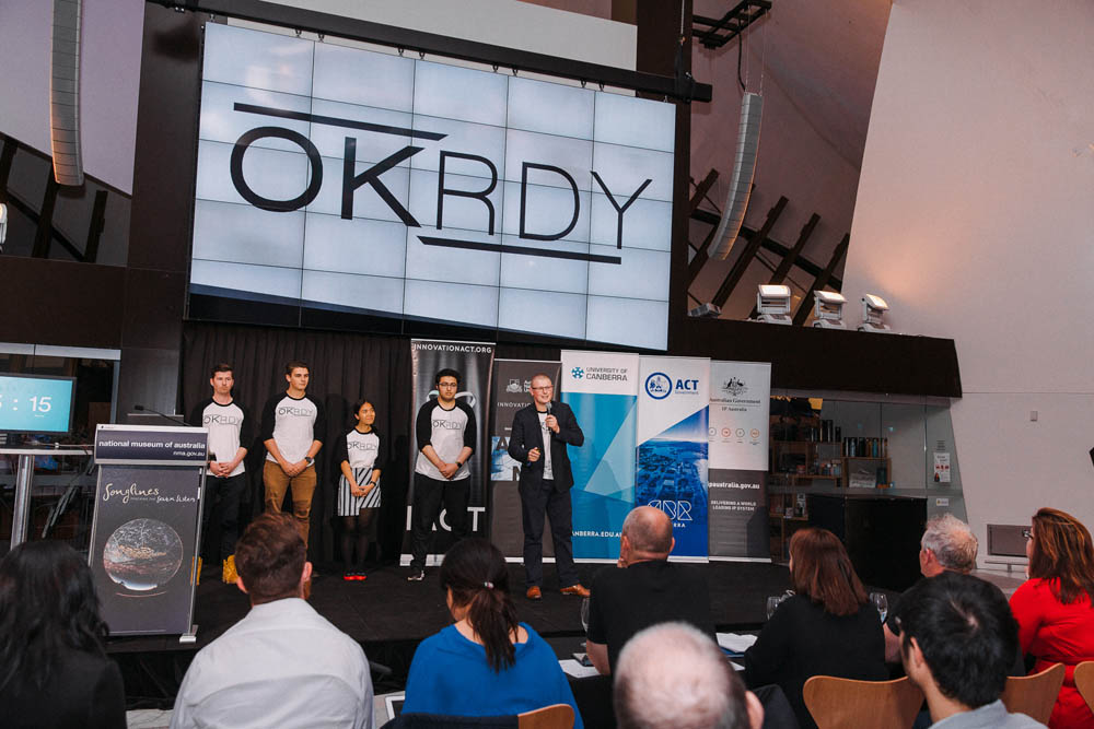 The OK RDY team deliver their InnovationACT Award winning pitch