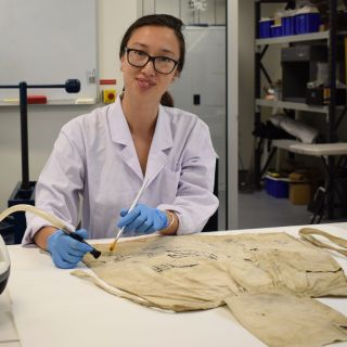 Image of Honours student Danica Auld working in UC's conservation lab