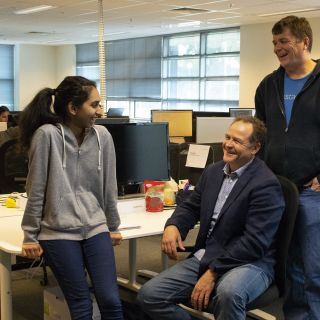 Doug Stuart and Peter Lilley of Instaclustr, with University of Canberra second-year Bachelor of Accounting student Shivani Sehgal
