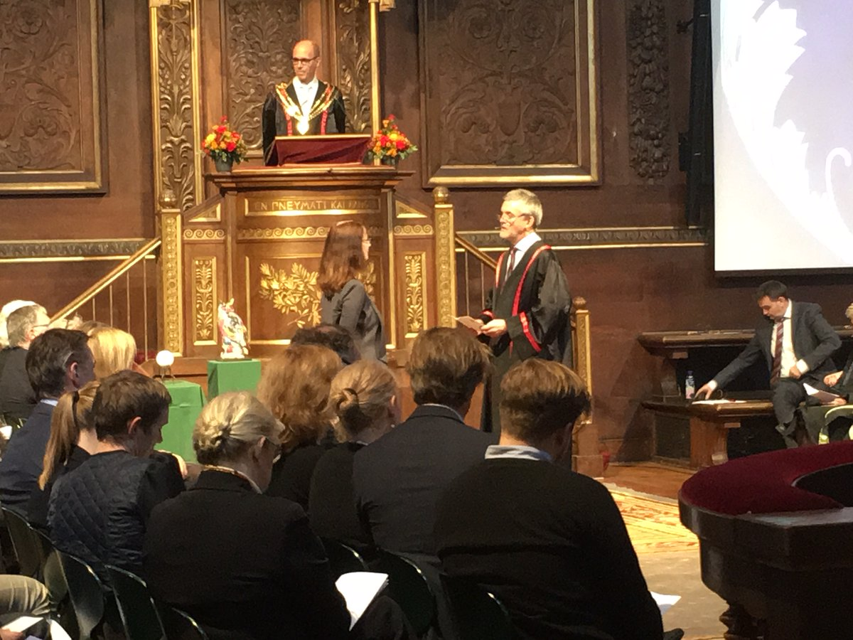 Centenary Research Professor Deborah Lupton receiving her Honorary Doctorate from the Dean of the Faculty of Social Sciences at the University of Copenhagen.
