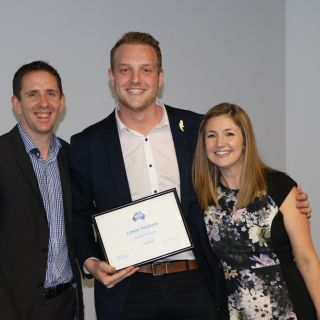 Mr Haskew, winner of the WIN New Peter Leonard Schlarship for Journalism 2018, flanked by WIN News NSW News Director Rob Beaumont and WIN Chief of Staff Donna Acioli.