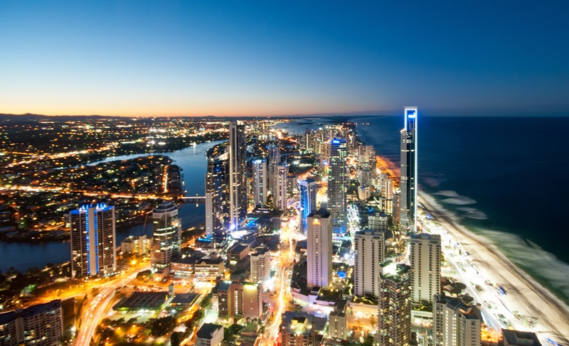 Surfers Paradise on the Gold Coast by night