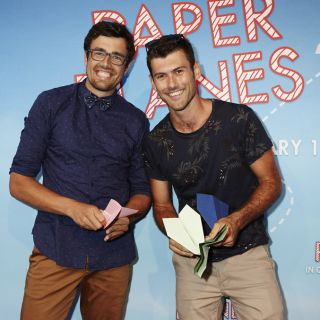 UC alumni James Norton and Dylan Parker at the premiere of Paper Planes