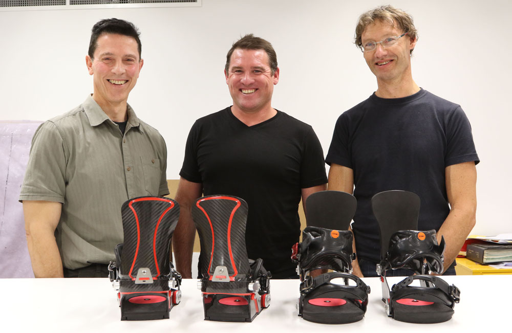 Eddi Pianca, Ben Wordsworth and Bill Shelley with the adjustable team binding designed by the University of Canberra